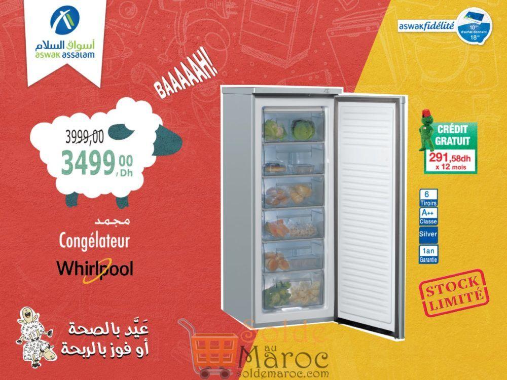 Promo Aswak Assalam Congélateur Whirlpool 3499Dhs au lieu de 3999Dhs