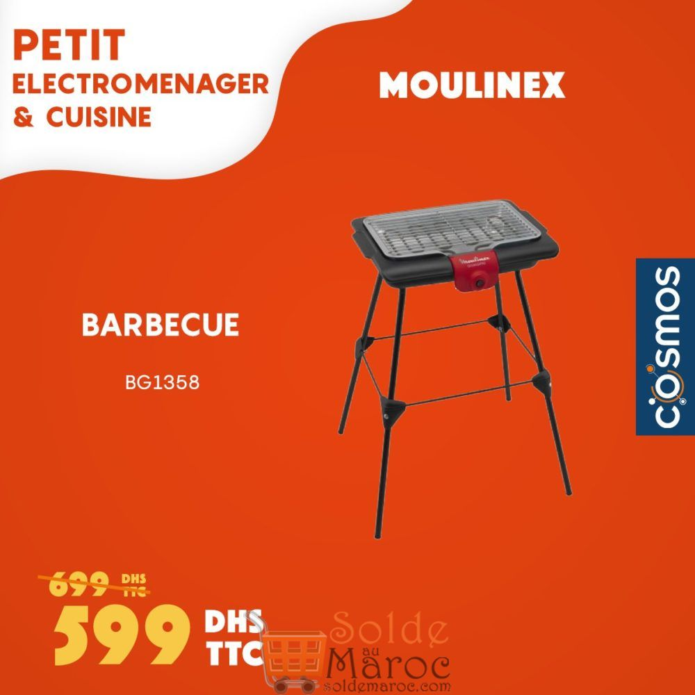 Promo Cosmos Electro Barbecue MOULINEX 599Dhs au lieu de 699Dhs