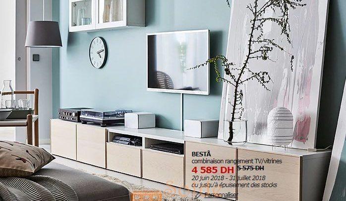 Soldes Ikea Maroc Combinaison Rangement TV/vitrines BESTÅ 4585Dhs au lieu de 5575Dhs