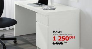 Tout doit Disparaître Ikea Maroc Bureau MALM Blanc 1250Dhs au lieu de 1695Dhs