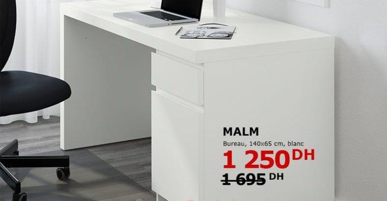 Photo of Tout doit Disparaître Ikea Maroc Bureau MALM Blanc 1250Dhs