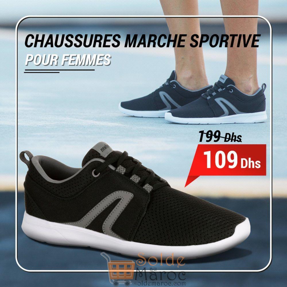 Soldes Decathlon Chaussures marche sportive femme Soft 140 Mesh noir 109Dhs au lieu de 149 Dhs