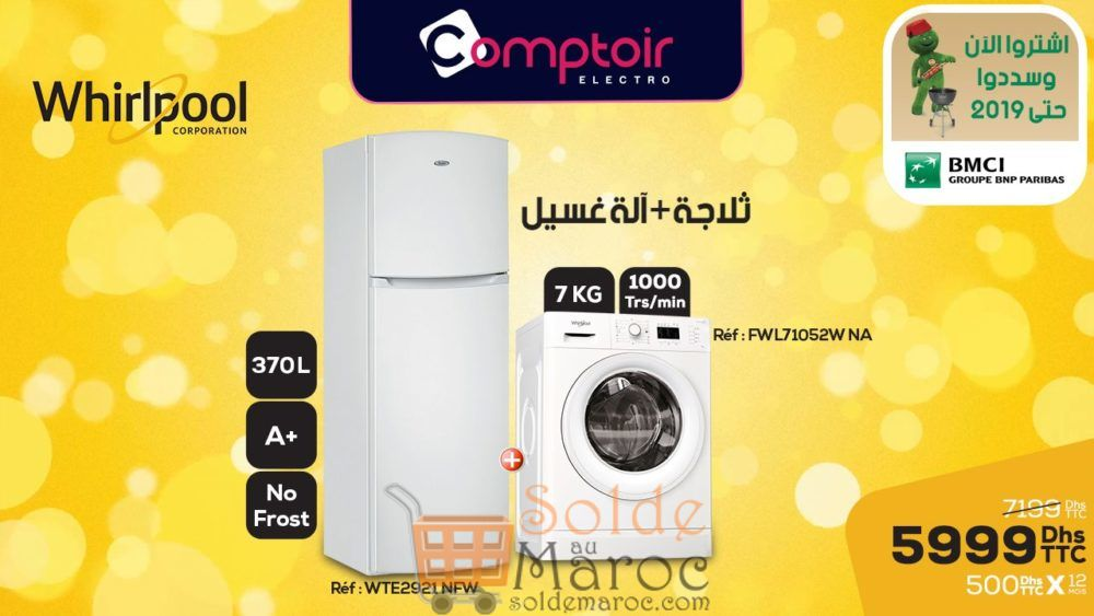 Promo Le Comptoir Electro Duo Whirlpool Réfrigérateur + Lave-linge 5999Dhs au lieu de 7199Dhs