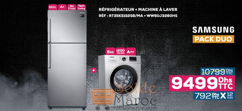 Soldes Le Comptoir Electro Pack Duo Samsung Réfrigérateur + Lave-linge 9499Dhs au lieu de 10799Dhs