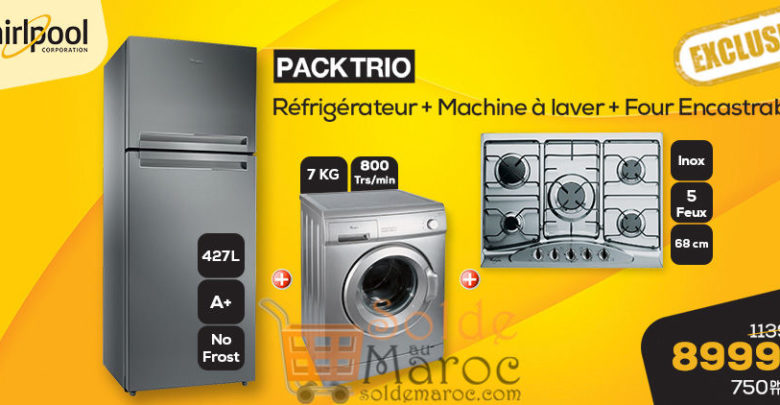 Photo of Promo Le Comptoir Electro Pack Trio Whirlpool 8999Dhs