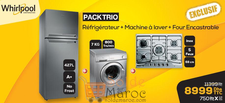 Promo Le Comptoir Electro Pack Trio Whirlpool 8999Dhs au lieu de 11399Dhs