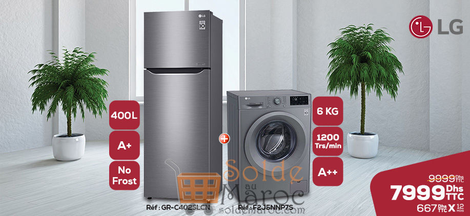 soldes le comptoir electro pack duo lg r frig rateur lave linge 7999dhs solde et promotion. Black Bedroom Furniture Sets. Home Design Ideas