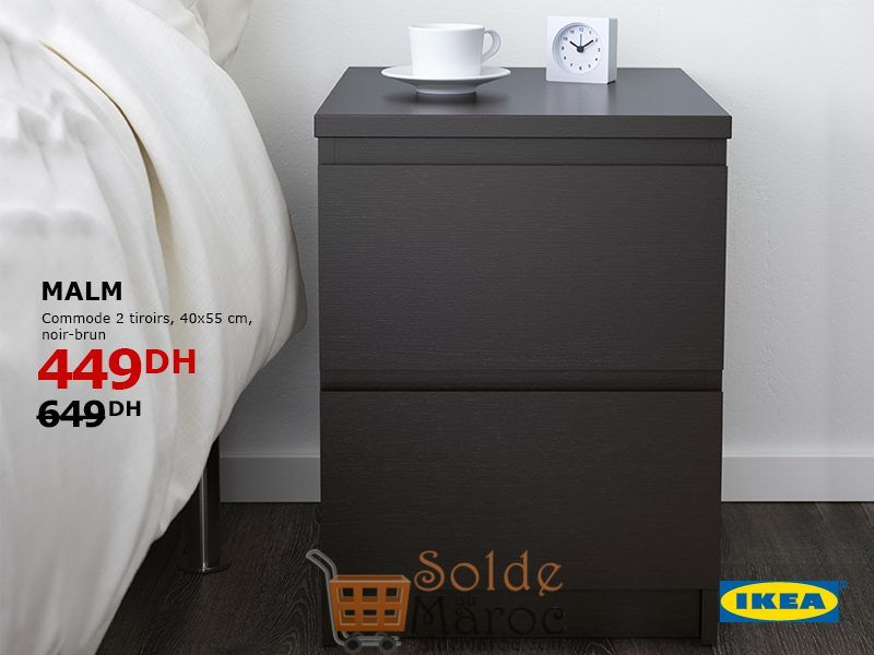 Soldes Ikea Maroc Commode 2 tiroirs MALM noir-brun 449Dhs au 649Dhs