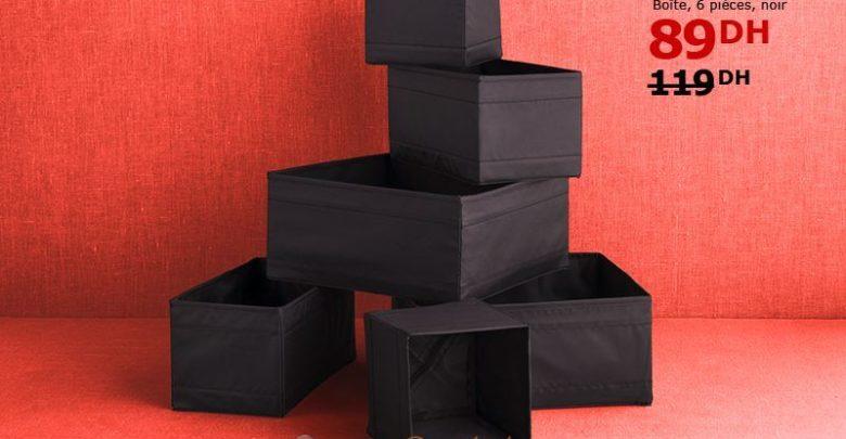 Solde Ikea Maroc Boîte 6 pièces SKUBB noir 89Dhs au lieu de 119Dhs