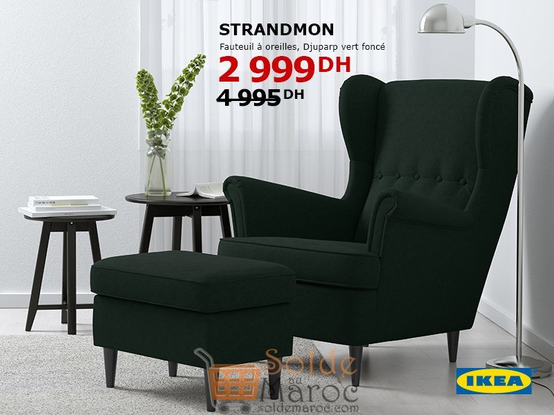 Ikea Fauteuil Strandmon.Soldes Ikea Maroc Fauteuil A Oreilles Djuparp Vert Fonce