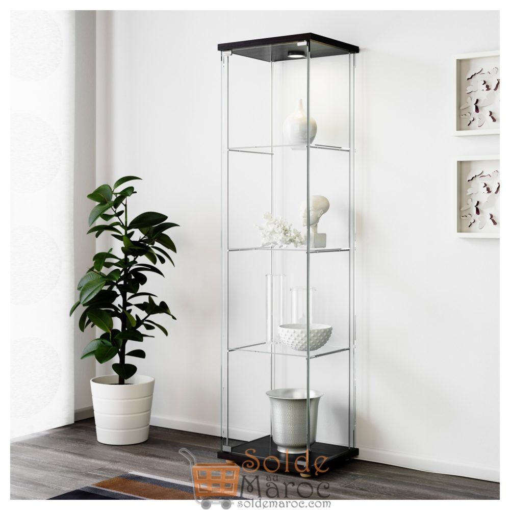 soldes ikea maroc vitrine detolf noir brun 750dhs au lieu. Black Bedroom Furniture Sets. Home Design Ideas
