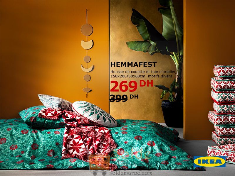Soldes Ikea Maroc Housse de couette et taie d'oreiller HEMMAFEST 269Dhs au lieu de 399Dhs