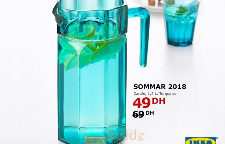 Soldes Ikea Maroc Carafe SOMMAR 2018 1.2L Turquoise 49Dhs au lieu de 69Dhs