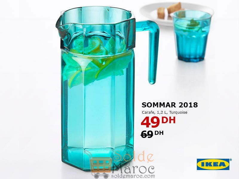 soldes ikea maroc carafe sommar 2018 1 2l turquoise 49dhs. Black Bedroom Furniture Sets. Home Design Ideas