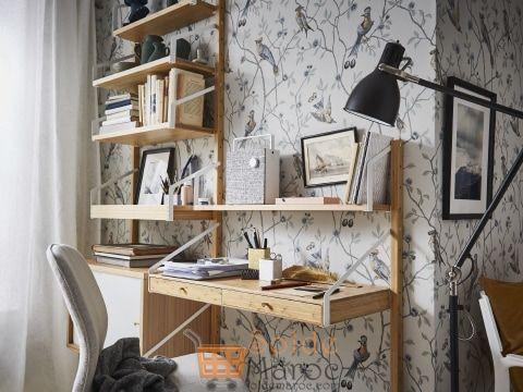 Soldes Ikea Maroc Combinaison de rangements muraux bambou blanc SVALNÄS 2478Dhs au lieu de 2942Dhs