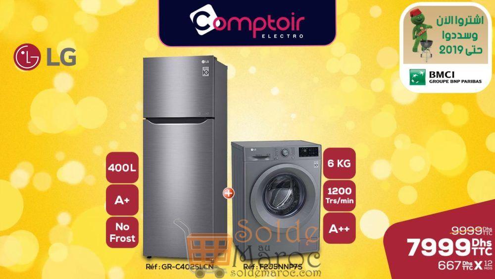 Soldes Le Comptoir Electro Duo LG Réfrigerateur + Lave-linge 7999Dhs au lieu de 9999Dhs