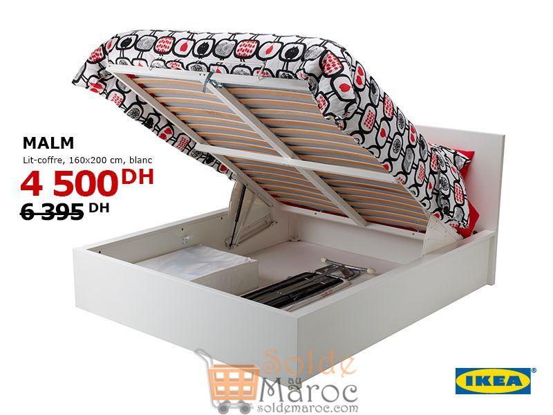 Tout doit Disparaître Ikea Maroc Lit-coffre MALM 4500Dhs au lieu de 6395Dhs