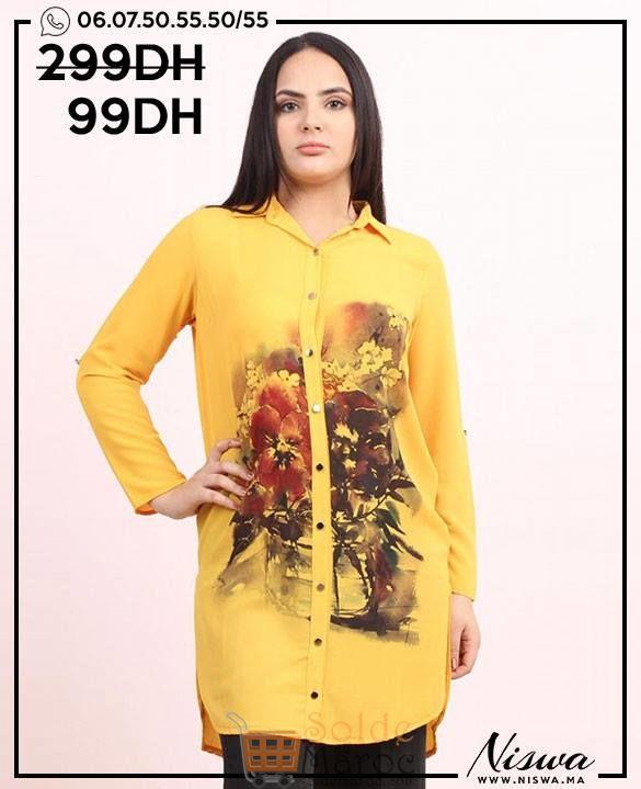 Soldes Niswa Chemise Jaune Imprimé 99Dhs au lieu de 299Dhs