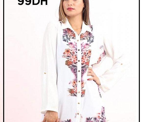 Soldes Niswa Chemise Blanche Imprimé 99Dhs au lieu de 299Dhs