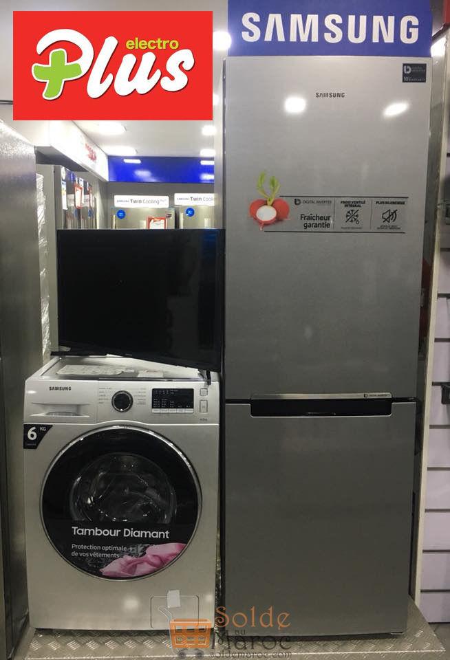 Promo Electroplus TRIO SAMSUNG Réfrigirateur + Lave-linge + Tv 9999Dhs au lieu de 11600Dhs