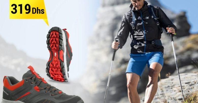 Promo Decathlon Chaussures de randonnée montagne Quechua Forclaz Homme Rouge 319Dhs au lieu de 329Dhs