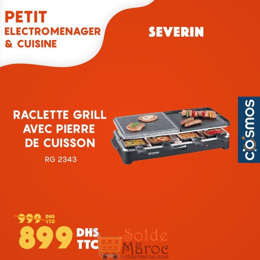 Promo Cosmos Electro Raclette Grill + Pierre de cuisson 899Dhs au lieu de 999Dhs