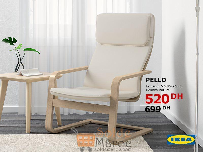 Soldes Ikea Maroc Fauteuil PELLO Holmby naturel 520Dhs au lieu de 699Dhs