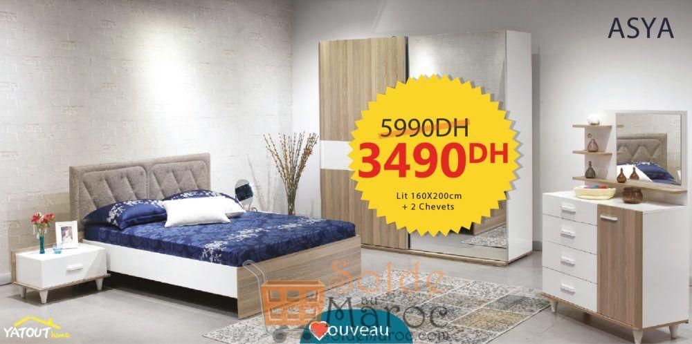 Promo Yatout Home Lit et 2 chevets ASYA 3490Dhs au lieu de 5990Dhs