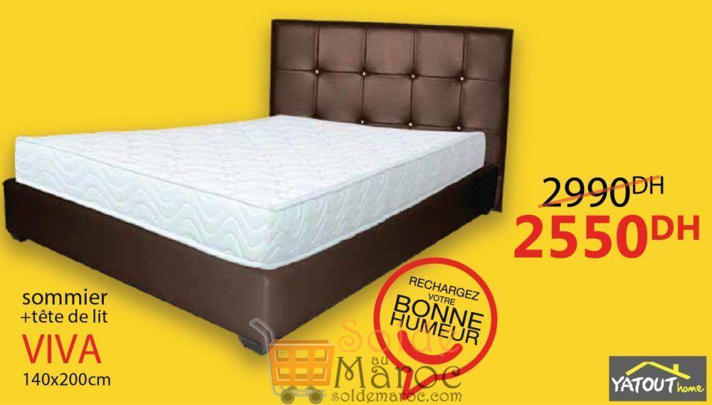 Promo Yatout Home Sommier + tête de lit VIVA 2550Dhs au lieu de 2990Dhs