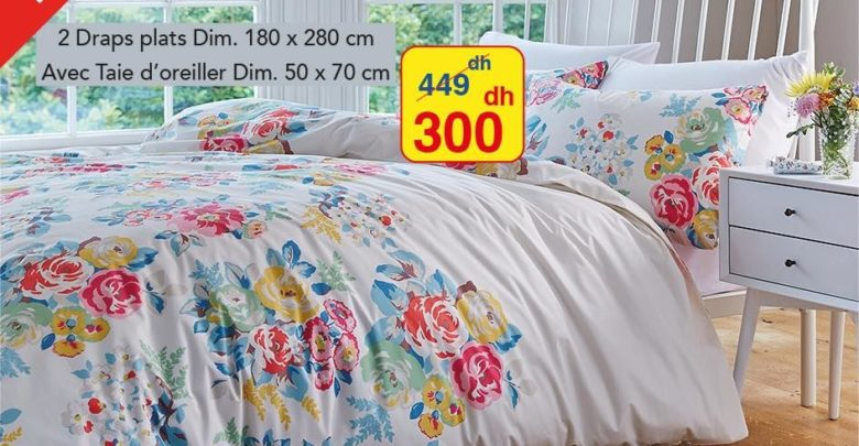 Photo of Promo Alpha55 Draps de lit et taies d'oreiller 300Dhs au lieu de 449Dhs