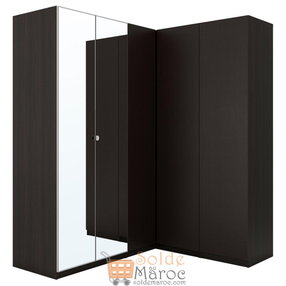 Promo Ikea Maroc Penderie d'angle PAX noir-brun Nexus Vikedal 12180 Dhs au lieu de 13640Dhs