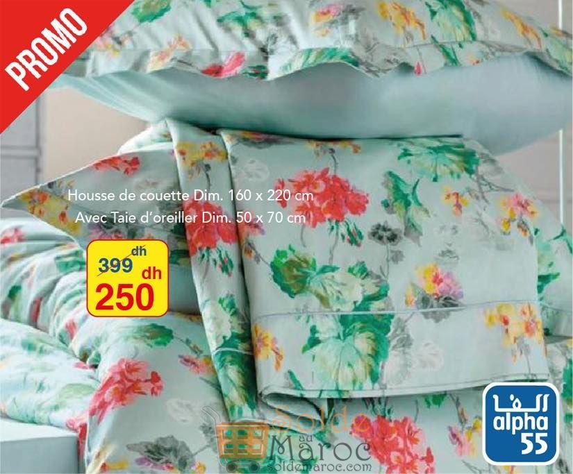 Promo Alpha55 Nouvelle sélection de couettes et taies d'oreillers 250Dhs au lieu de 399Dhs