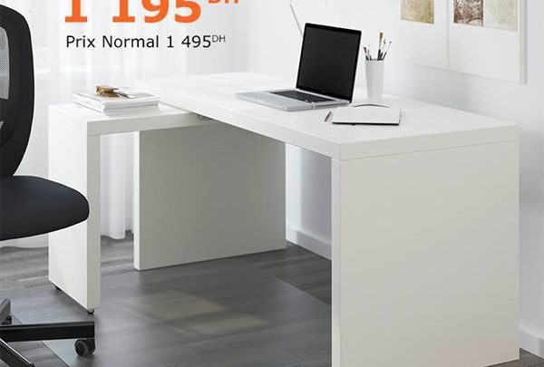 Photo of Soldes Ikea Family Bureau avec tablette coulissante MALM 1195Dhs au lieu de 1495Dhs