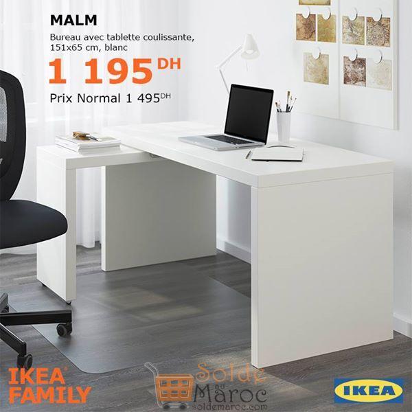 Soldes Ikea Family Bureau avec tablette coulissante MALM 1195Dhs au lieu de 1495Dhs