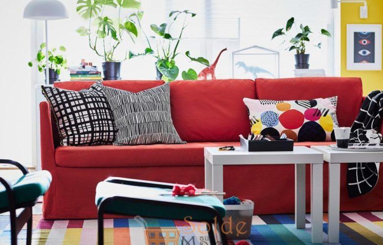 Promo Ikea Maroc canapé 3 places BRÅTHULT rouge/orange 3495Dhs au lieu de 4025Dhs