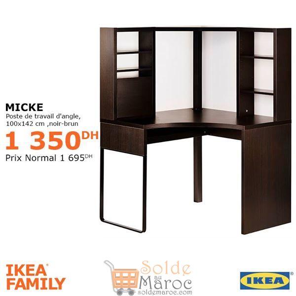 Promo Ikea Family Poste de Travail d'angle MICKE 1350Dhs au lieu de 1695Dhs
