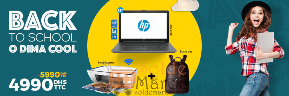 Promo Cosmos Electro Laptop + Imprimante + Sacoche + Sac à dos 4990Dhs au lieu de 5590Dhs