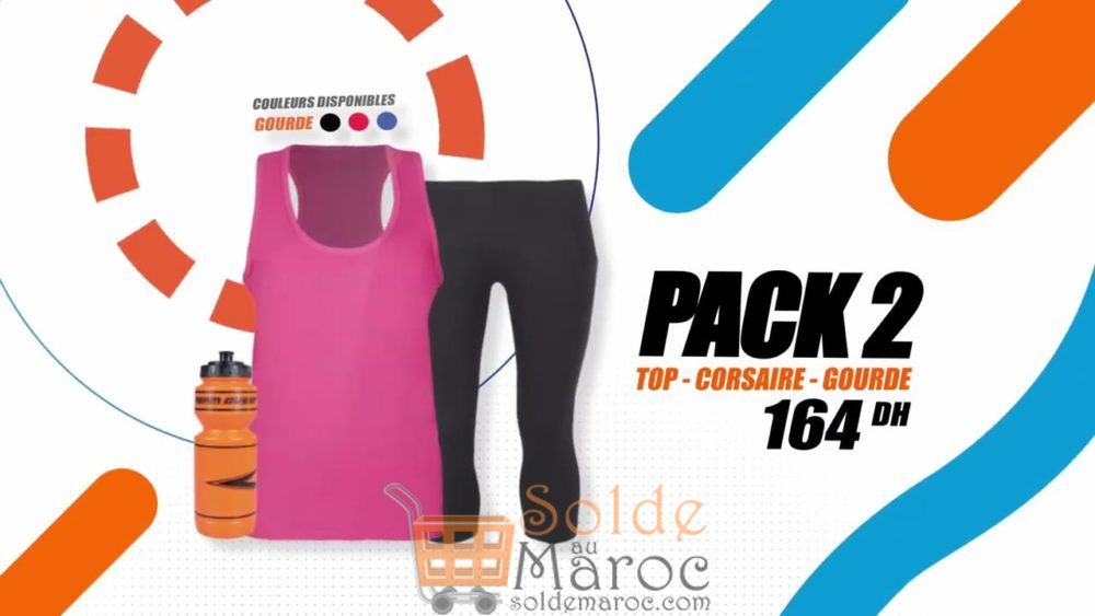Promo Sport Zone Maroc Pack Top - Corsaire - Gourde 164Dhs