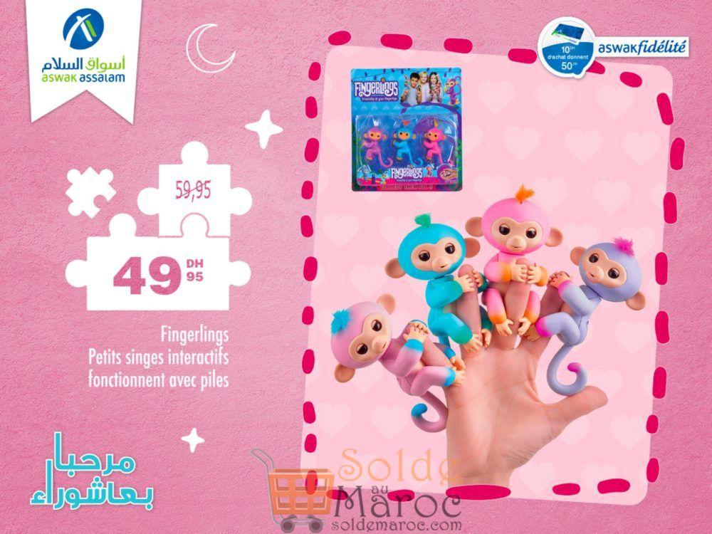 Promo Aswak Assalam Fingerlings petits singes 49Dhs au lieu de 59Dhs