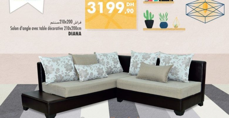 Photo of Promo Aswak Assalam Canapé d'angle + Table décorative DIANA 3199Dhs au lieu de 4199Dhs