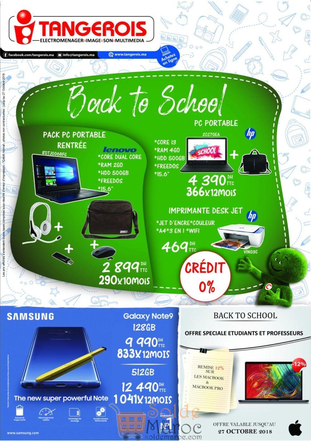 Catalogue Tangerois Electro Back to School Jusqu'au 27 Octobre 2018