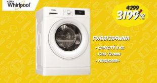 Promo Biougnach Electro Lave-linge Whirlpool 8Kg Freshcare+ 3199Dhs au lieu de 4299Dhs