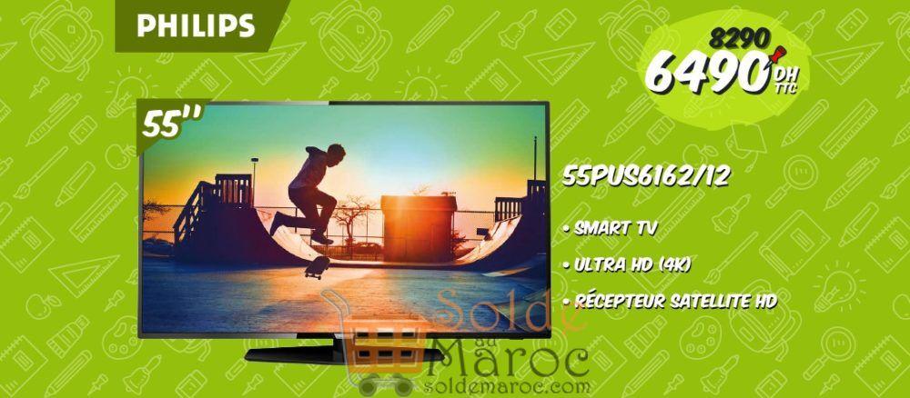 """Promo Biougnach Electro Smart TV Philips 55"""" 4K récepteur intégrer 6490Dhs au lieu de 8290Dhs"""