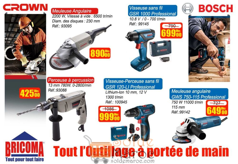 Promo Bricoma Outillage Bosch et Crown