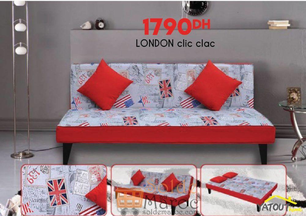 Offre Spéciale Yatout Home Canapé convertible LONDON Clic Clac 1790Dhs