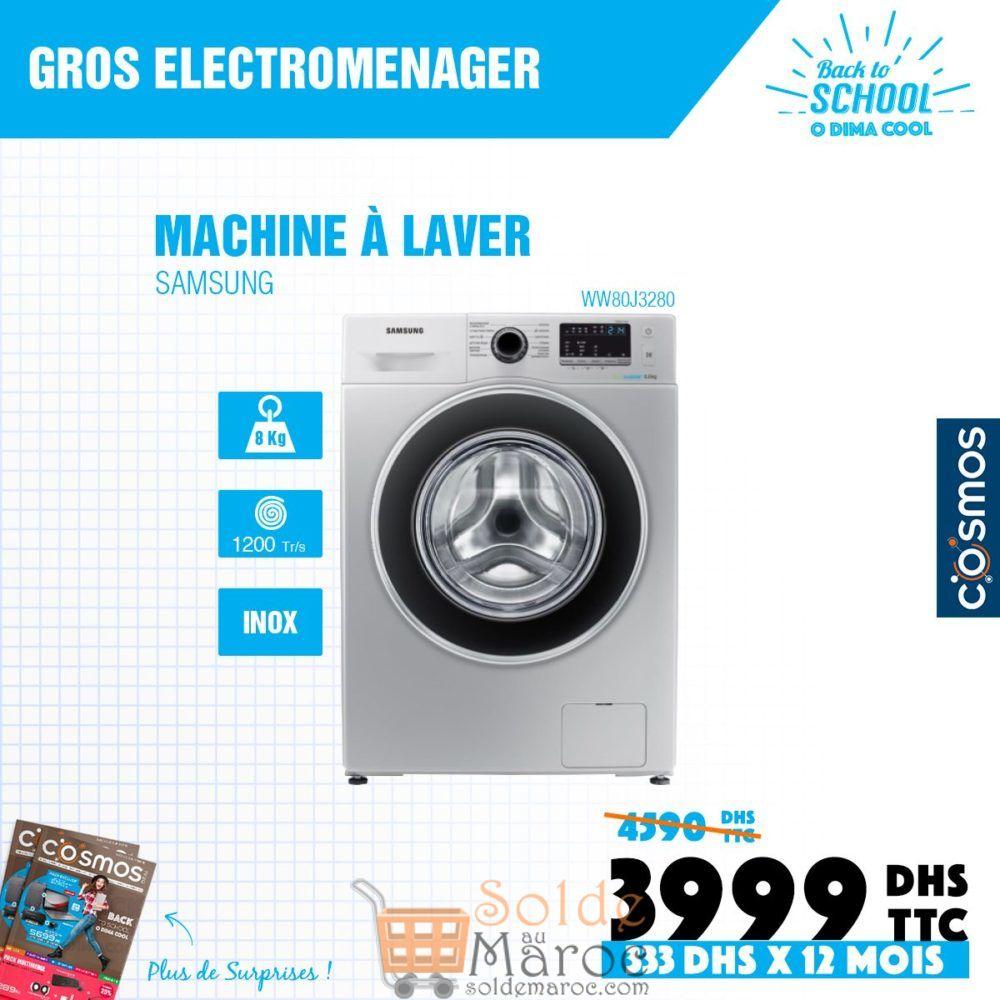 Promo Cosmos Electro Lave-linge Samsung 8Kg 3999Dhs au lieu de 4590Dhs