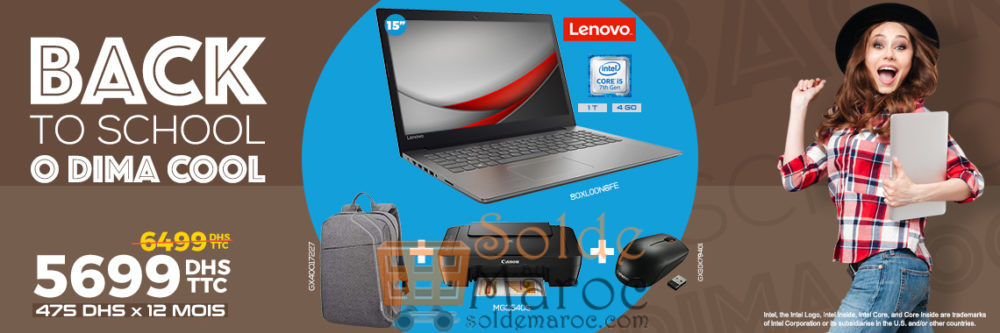 Promo Cosmos Electro Laptop Lenovo + Sac à dos + Imprimante + Souris SF 5699Dhs au lieu de 6499Dhs