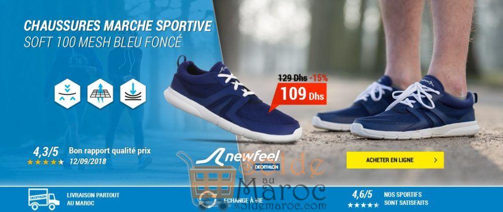 Soldes Decathlon Chaussures marche sportive homme Soft 100 Mesh bleu foncé 109Dhs au lieu de 129Dhs