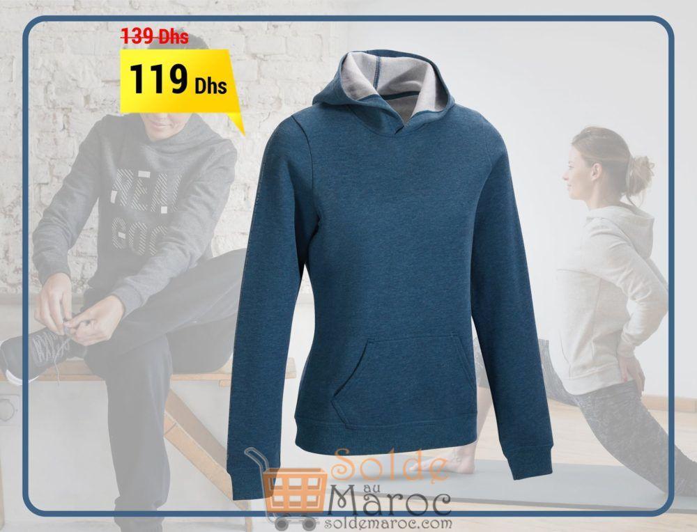 Soldes Decathlon Sweat-shirt capuche turquoise chiné printé 119Dhs au lieu de 139Dhs