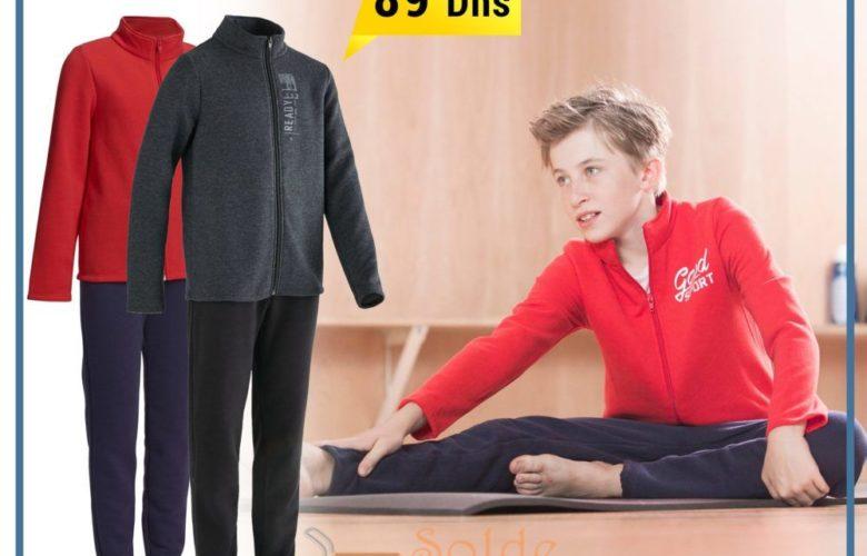Super Offre Decathlon Survêtement 120 Gym garçon imprimé rouge Warm'y Zip 89Dhs